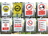 Neighbourhood Watch signs, play area signs, no dog fouling, play area rules signs,