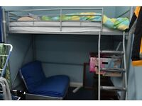 Bunk Bed with chair and table below, grey metal