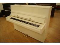 Brand new compact upright piano in white gloss by Bentley. Tuned and delivery available