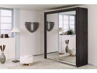 Brand New Berlin 2 Door Sliding Wardrobe Full Mirror, Shelves, Hanging Rails Express Delivery London