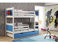 New KIDS CHILDREN TODDLER [] JUNIOR BUNK BED WITH MATTRESS AND DRAWERS 190 x 85
