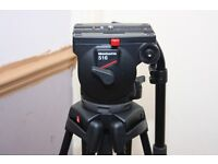 Manfrotto 516 100mm pro video head Manfrotto 515 MVB two stage tripod plus bag