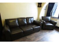 Three seater leather sofa and chair