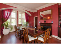 REDUCED !!!!! SUPERB, DIVINE, HIGH QUALITY HUGE HAND CARVED WALNUT DINING ROOM TABLE & CHAIRS