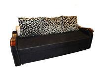 Brand New Fabric Black High Quality 3 Seater Sofa Bed with Animal Print Cushions Sleeper Sofa