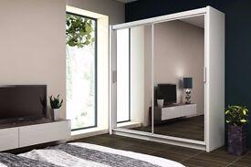 Latest Design - Berlin Sliding 2 Door Miiror Wardrobe in Black, Wenge, Walnut and White Colour