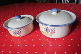 Poole Pottery Dorset Fruits, 2 serving dishes with lids. 1 litre and 2 litre capacity
