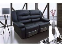 Rimini 2 Seater Black Bonded Leather Luxury Recliner Sofa. SUPER FAST UK Delivery!!!