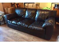 3 seater DFS brown leather sofa