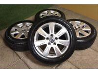 "Genuine VW Catalunya 16"" Alloy wheels & Tyres 5x112 Passat Golf Caddy T4 Audi"