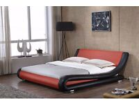 Exclusive Modenza Italian Black and red Faux Leather Designer Bed In Double and King Size