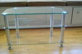 Glass TV and DVD player unit