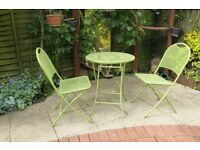 Green metal bistro set. VGC