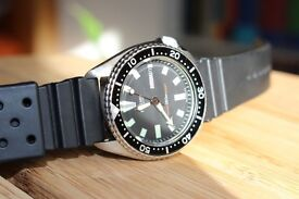 Beautiful Restored Vintage Seiko 6309-7290 6309 Automatic Black Dial Divers Mens Watch