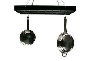 NEW Fox Run 7801 Rectangle Pot Rack with Chains and Hooks, Black