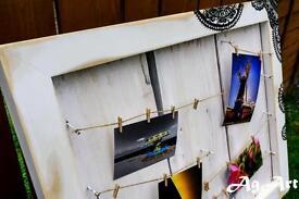 """ Washing line"" photo board.Solid hardwood. Hand painted. Very heavy. 70x60cm (27.5x23.6"")."