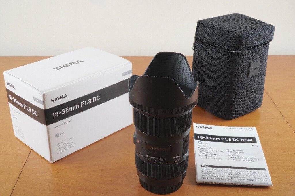Sigma 18-35 Art Camera Lens. Canon camera fit. As new