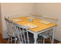 Shabby Chic dining table and 4 chairs