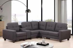 CLEAVON Reversible Sectional Sofa $746!!  Black & Grey Available---From The Larges store in Edmonton
