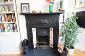 Antique Fireplace, Edwardian, Cast Iron, with tulip tiles and slate hearthstone
