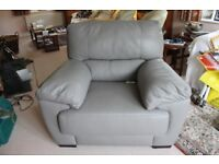 MEDIUM GREY LEATHER ABELLA ARMCHAIR - BRAND NEW - NEVER BEEN USED