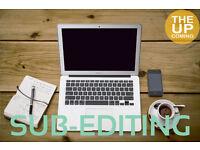 Sub-editor at The Upcoming: proofreader, sub-editing, subeditor, copy editor, proofreading