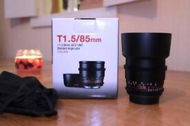 Samyang 85mm T1.5 (canon fit) Cine manual lens. IMMACULATE!!
