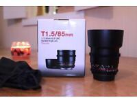 Samyang 85mm T1.5 Cine manual lens. IMMACULATE!!