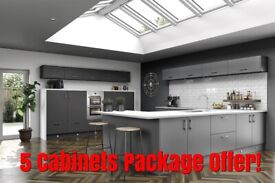 Vivo Matt 18 mm Thick Slab Door Painted, 5 Kitchen Cabinets Package Offer - NEW -