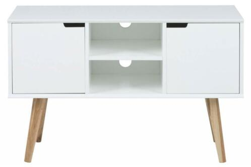 Eiken Tv Meubel Wit.Mena Tv Dressoir Tv Meubel Wit Mdf Eiken Pootjes Tv Kast Kasten
