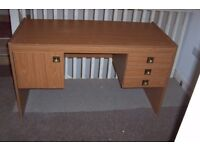 Desk, home office style – nice and solid – wood effect- 3 drawers and a side cupboard £15
