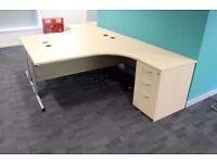 Radial Office Desk & 3 Drawer Matching Pedestal (Maple)