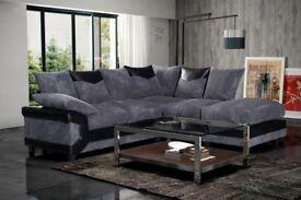Glorious Design - New Quality Jumbo Cord Dino Corner Sofa a Footstool or 2 + 3 Seater Grey / Brown
