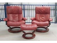 Ekornes Stressless 2 Swivel burgundy recliner leather chairs & 1 footstool