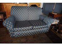 REDUCED Elegant Blue Fabric 3 Piece Suit 2 x Arm Chairs & 1 x 2 Seat Sofa on Castors