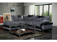 Same Day Delivery - Brand New Dino Jumbo cord Corner or 3 + 2 Sofa in black/grey or brown/beige