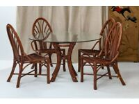 McGuire Rattan Dining Table and 4 Chairs Mid-Century 1970s