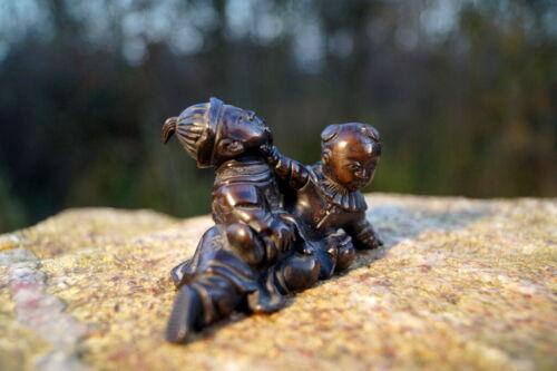 Unicum Antique Fine Bronze Figure Children Playing Exclusive Künstlerarbeit Asia