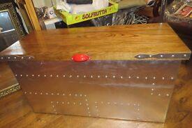 aviator style aluminium and oak blanket box, coffee table,,