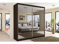TWO door Sliding Mirror High Quality MDF made Wardrobe 120cm/150/cm/180cm/203cm wide in stick