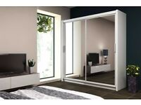 BRAND NEW MODERN DESIGN SLIDING WARDROBE 160 / 203 CM *FREE NEXT DAY DELIVERY / FITTING AVAILABLE *