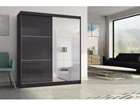 K 2 Door Sliding with High Gloss Black/White Wardrob