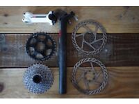 Lot of bike parts: Boardman EP4 stem, seatpost, sram 9 sp casette, MRP 32T ring, avid rotors
