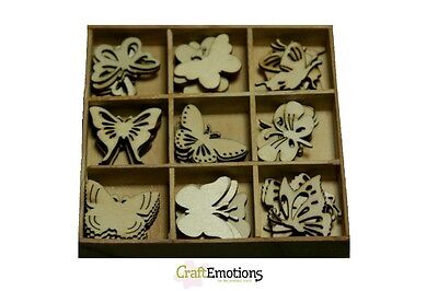 Craft Emotions BOX OF 45 WOODEN SHAPES ORNAMENTS - BOTANICAL BUTTERFLIES 0101 #2