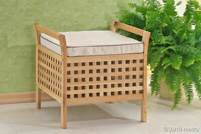 Walnuss Hocker (Hocker mit Sitzkissen, Wäsche, Sitzhocker Walnuss Holz)