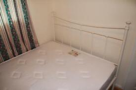 Double bed (metal frame + mattress) with a free wardrobe