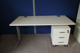 White 3 drawer under desk storage drawers lockable (ex display)