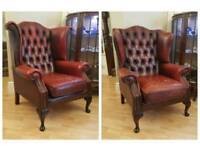 Oxblood Red Leather Armchairs