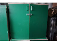 Filing cabinets in green and grey