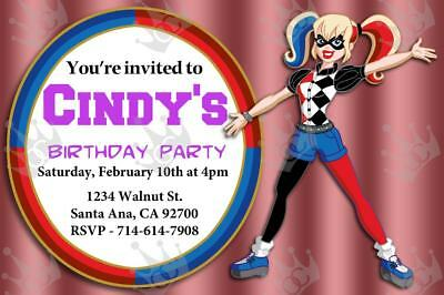 Kids Harley Quinn Birthday Party Invite Template For Boy or Girl (Style (Birthday Party Template)
